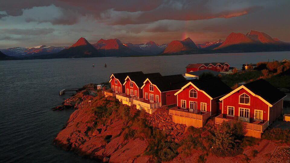 Fem røde sjøhus ved havet i kveldssol
