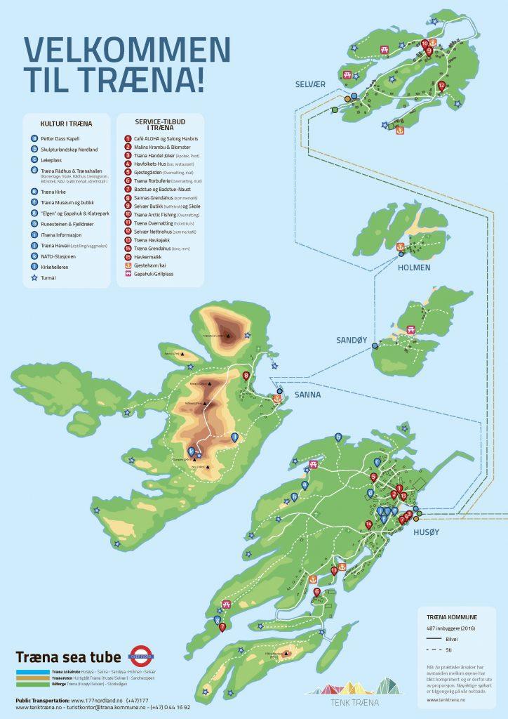 Kart over træna-øyene